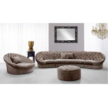 Divani Casa Cosmopolitan Mini - Transitional Acrylic Crystal Tufted Fabric Sofa Set