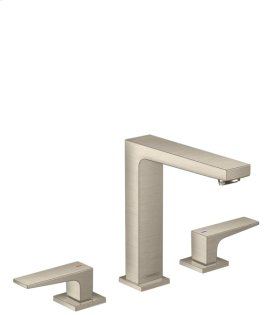 Brushed Nickel Metropol 160 Widespread Faucet with Lever Handles without Pop-Up, 1.2 GPM
