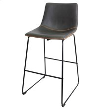 Contour Bar Stool  22in X 39in X 20in Distinctive Black Powder Coat Iron Sled Base with Faux Leathe