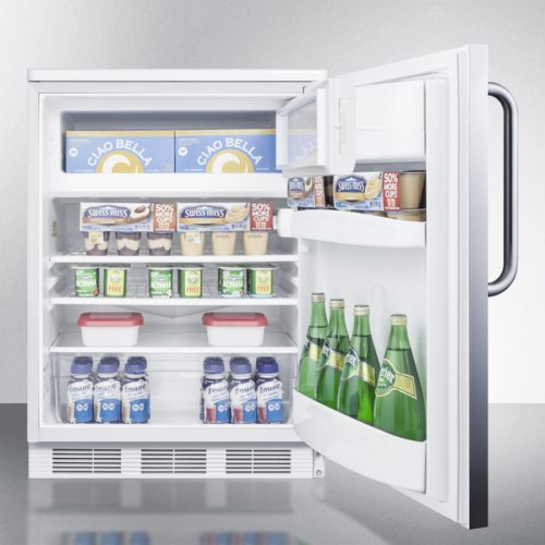 Built-in Undercounter Refrigerator-freezer for General Purpose Use, With Lock, Dual Evaporator Cooling, Cycle Defrost, Ss Door, Tb Handle and White Cabinet