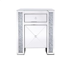 21.5 in silver crystal mirrored one drawer cabinet