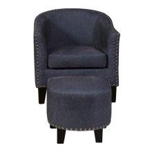 Accent Chair & Ottoman in Vintage Denim Blue