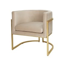 "Gold Leaf Frame Barrel Arm Chair In Cream Velvet Seat Heigh 20.5"""