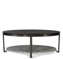 Oval Coffee Table Weathered Worn Black finish