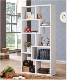 - Eight shelf bookcase finished in white - Constructed with MDF, particle board, and engineered veneer- Also available in weathered grey (#800510), cappuccino (#800264), grey driftwood (#801137), walnut (#801138), and elm (#801302)