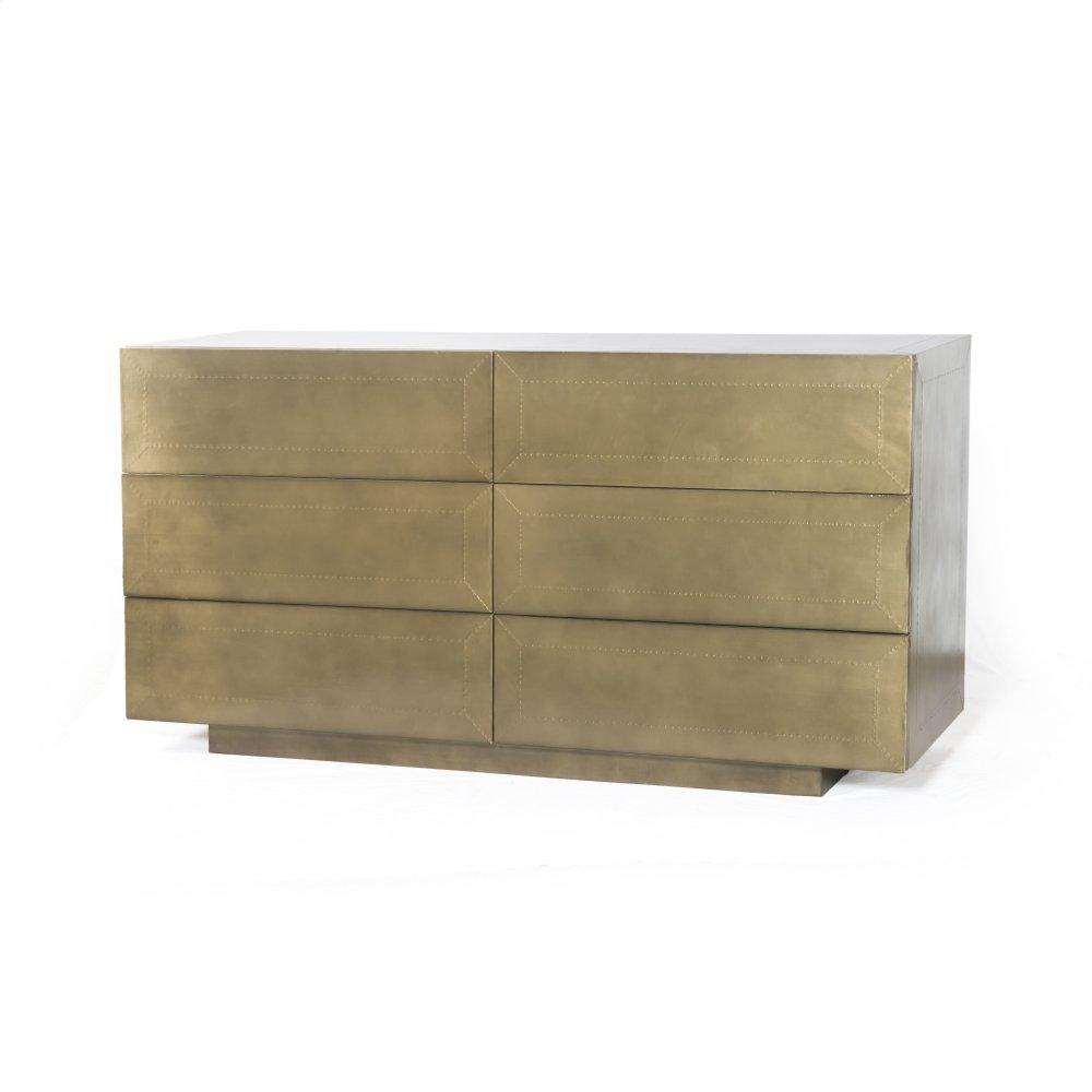 Freda 6 Drawer Dresser-aged Brass