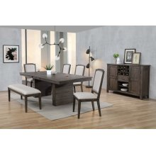 DLU-CA113 Collection  7 Piece Extendable Dining Table Set  Bench Server
