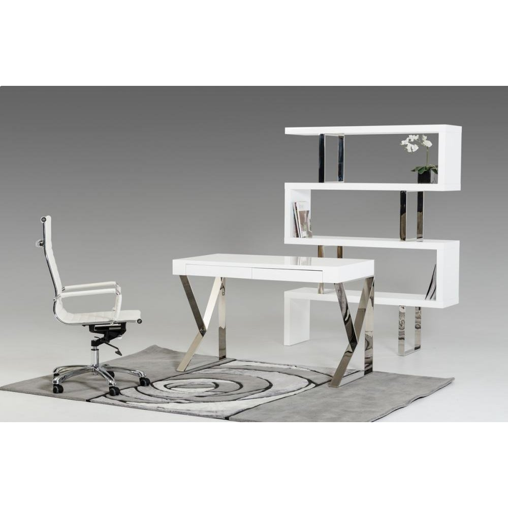 Modrest Ferris Modern White Lacquer Office Desk