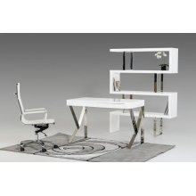 Modrest Ferris Modern White Lacquer Office Desk