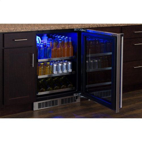 "Marvel 24"" Beverage Center with Display Wine Rack - Panel-Ready Framed Glass Door with Lock - Integrated Right Hinge (handle not included)*"