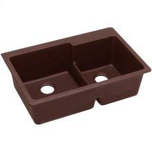 """Elkay Quartz Classic 33"""" x 22"""" x 9-1/2"""", 60/40 Double Bowl Drop-in Sink with Aqua Divide, Pecan"""