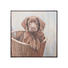 CHOCOLATE LAB PUPPY; Hand painted Chocolate Lab pup on canvas in mahogany frame.