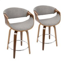 Curvini 24'' Counter Stool - Set Of 2 - Walnut Wood, Light Grey Fabric, Chrome