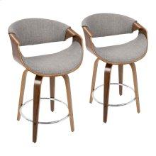 Curvini 24'' Counter Stool - Set Of 2 - Walnut Wood, Light Grey Fabric, Chrome