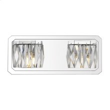 Krysta 2 Light Bath Vanity in Chrome with Faceted Crystal Glass