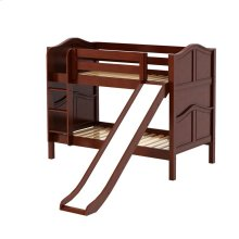 Low Bunk Bed with Straight Ladder and Slide : Twin : Chestnut : Curved