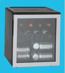 42-Can (12 oz.) or 17-Wine Bottle Capacity Silver Door and Chrome Shelves