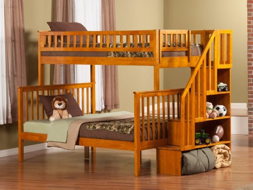 Woodland Staircase Bunk Bed Twin over Full in Caramel Latte
