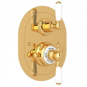 English Gold Perrin & Rowe Edwardian Era Oval Thermostatic Trim Plate With Volume Control with Metal Lever