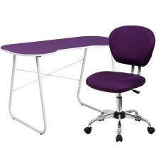 Purple Computer Desk and Mesh Chair
