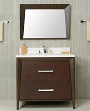 Walnut Brown CANTO 36-in Single-Basin Vanity Cabinet with Crema Marble Stone Top and Karo 20x13 Sink