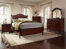 Hayden Place - Dark Cherry, Panel Storage Bed, Queen