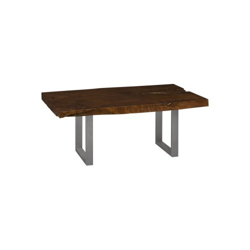 Live Edge Dining Table, Chamcha Wood, Perfect Brown, Brushed Stainless Steel Legs