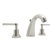 Polished Nickel Lombardia C-Spout Widespread Lavatory Faucet with Metal Lever