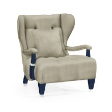 Modern Winged Antique Blue Oak Occasional Chair, Upholstered in MAZO