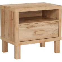 Heritage Collection 1 Drawer Nighstand with Open Storage in Rustic Oak