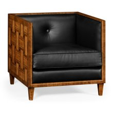 Club Chair with Woven Inlay Design, Upholstered in Black Leather