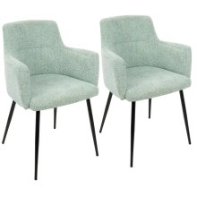 Andrew Chair - Set Of 2 - Black Metal, Light Green Fabric