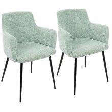Andrew Chair - Set Of 2 - Black Metal, Light Green Fabric