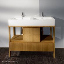 """Free-standing vanity with finger pulls on three drawers, 42 1/2"""", 19 3/4""""D, 30""""H. Cut-outs provided upon request."""