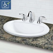 "Classically Redefined Drop-in Oval Bathroom Sink With 8"" Widespread Faucet Drilling"
