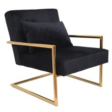 Metal/velveteen Arm Chair W/pillow, Black/gold