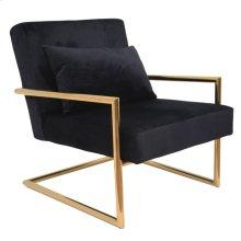 Metal/velveteen Arm Chair W/pillow, Black/gold