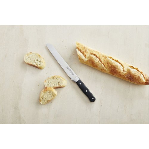 Classic Forged 8inches Triple Rivet Scalloped Bread Knife - Onyx Black