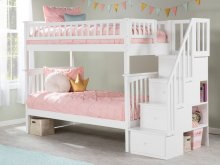Columbia Staircase Bunk Bed Twin over Twin in White