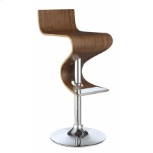 Contemporary Walnut Adjustable Bar Stool
