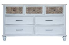 Dresser with 7 Drawers, Available in White Sand Finish Only.