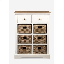 Simone White Cabinet (2 Drawers+6 Baskets) (25.5X15X33.5)