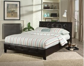 Rochester Queen Size Pleated Black Upholstered Bed