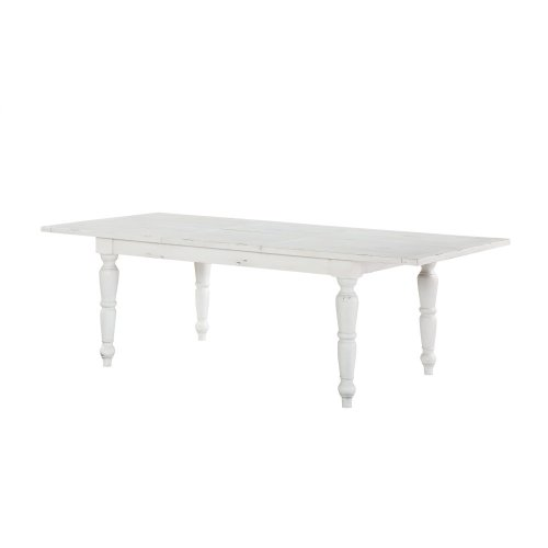"""Emerald Home Abaco Rectangluar Dining Table W/24"""" Butterfly Leaf-country White D848-10"""