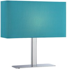 Table Lamp, Chrome/blue Fabric Shade, E12 Type G 40w