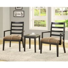 3-Pc. Set - 2 Accent Chairs with Earthtone Striped Fabric & 1 Rectangle End Table