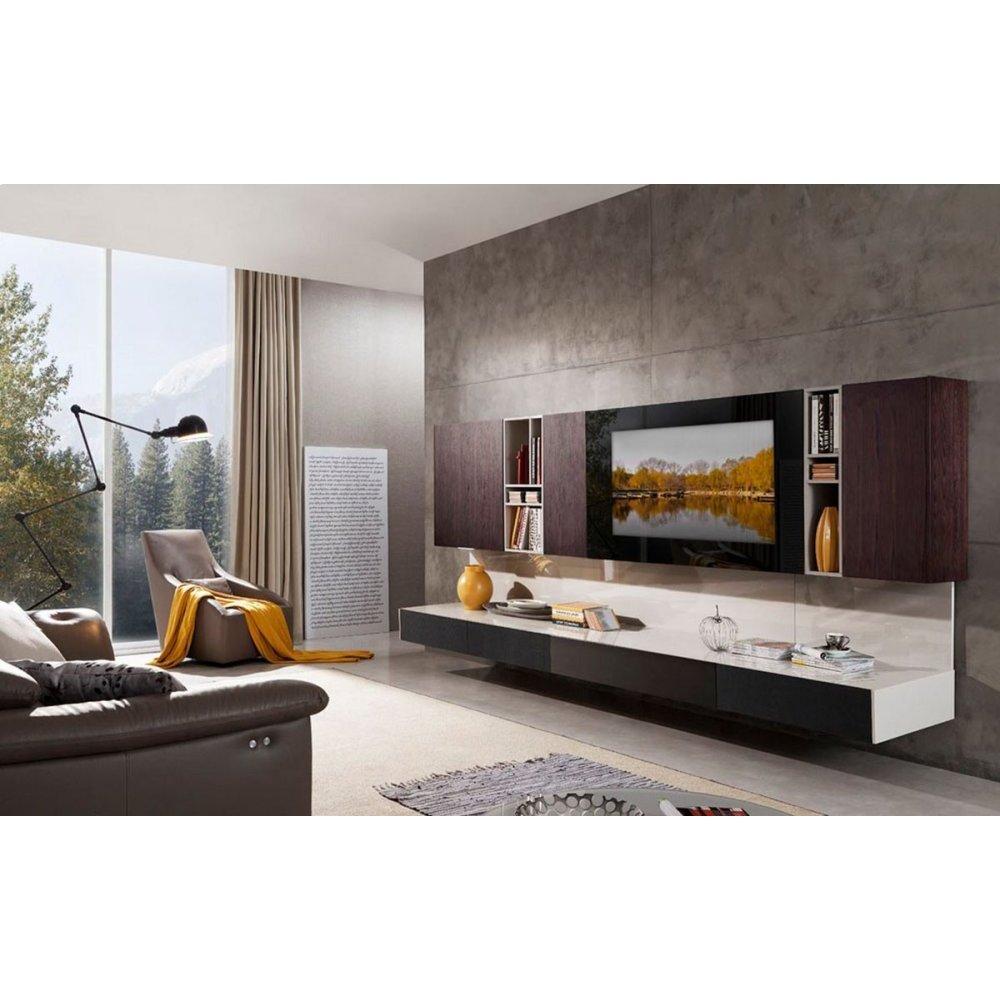 Modrest K553B Modern Brown Oak & Grey Entertainment Center w/ Audio System