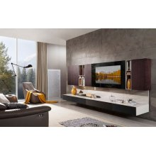 Modrest K553B Modern Brown Oak & Grey Entertainment Center w/ Audio System