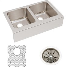 """Elkay Lustertone Classic Stainless Steel 33"""" x 20-1/2"""" x 10"""", Equal Double Bowl Farmhouse Sink Kit"""