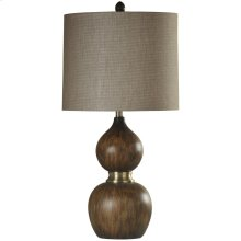 Mizoram Wood Molded Table Lamp with Antique Brass Accents & Hardback Shade
